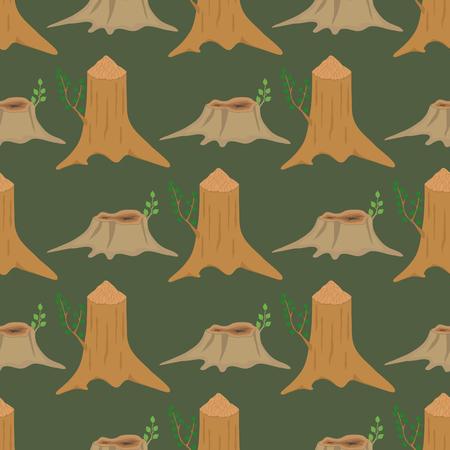 建設建物のための積み重ねられた木材パイン材カット切り株材木ツリー樹皮材料ベクトルシームレスパターン