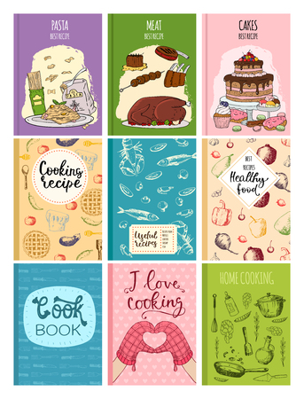 Gotowanie książki kucharskie obejmują projekt kuchni karty szablon ręcznie rysowane kulinarne notatki z ciasteczkami doodle ilustracji wektorowych naczynia kuchenne. Ilustracje wektorowe