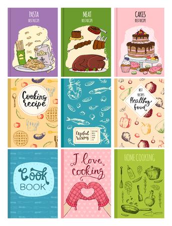 Koken receptenboeken dekken keuken ontwerp kaarten sjabloon hand getrokken culinaire cookie notities met doodle keukengerei vectorillustratie.