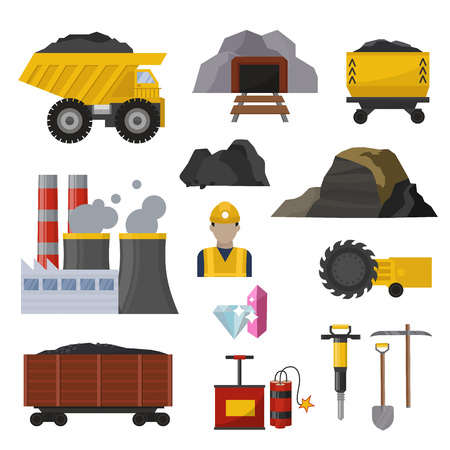 Coal extraction production mining heavy industry coalminer underground work transportation vector illustration