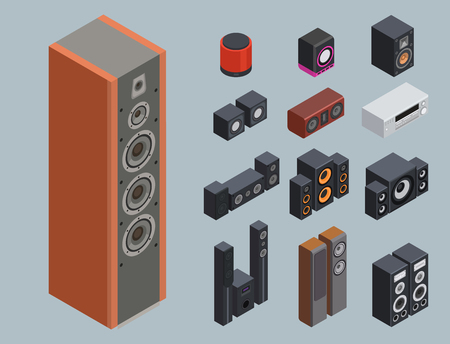 Accueil système de son isométrique stéréo acoustique 3d vecteur musique haut-parleurs lecteur technologie subwoofer équipement. Banque d'images - 87963336