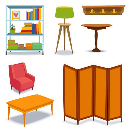 Meubles intérieur icônes maison design moderne salon maison canapé confortable appartement canapé vector illustration Banque d'images - 87963348