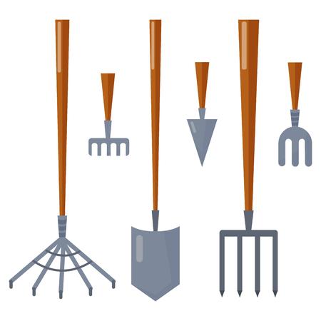 Landbouw landbouwgereedschap tuin apparatuur platte vector hark voor tuinieren schoonmaak oogst. Stock Illustratie