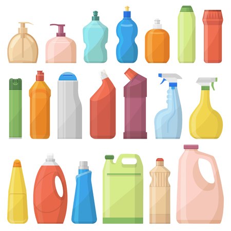 Huishoudelijke chemicaliën flessen pack schoonmaak huishoudelijk werk vloeibare huishoudelijke vloeistof schoner sjabloon vectorillustratie.