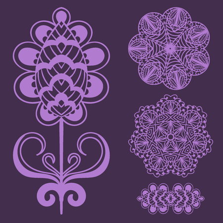 Henna tattoo brown mehndi flower doodle ornamental decorative indian design pattern paisley arabesque mhendi embellishment vector. Ilustrace