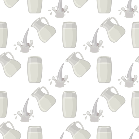 Jar of milk traditional nature nutritious pasteurized seamless pattern milky white drink beverage dairy product vector illustration.