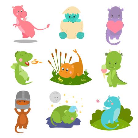 Cute kid baby dragon dinosaur fantasy animals cartoon character reptile mythology comic dino monster vector illustration. Illustration