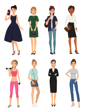 Fashion model girl clothes character looks style elegant woman shopping glamour feemale girlfriends stylish clothing pretty people vector illustration. Illustration