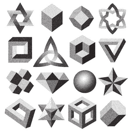 点描ハーフトーン ドット、幾何学的図形 dotwork スタイル別点描イリュー ジョン 3 d 図形無限トーラス結び目ループ ベクトル図です。