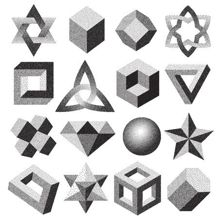 Demi-teintes pointillé figure géométrique en pointillé style dotwork différentes illusions pointillé formes 3d infini illustration vectorielle tore noeud noeud