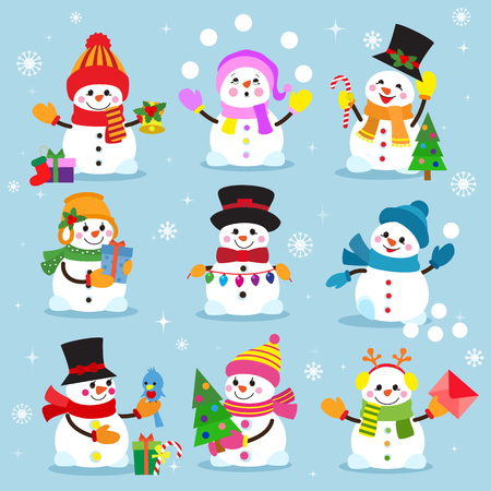 Snowman cartoon winter christmas character holiday merry xmas snow boys and girls vector illustration. Imagens - 87963487