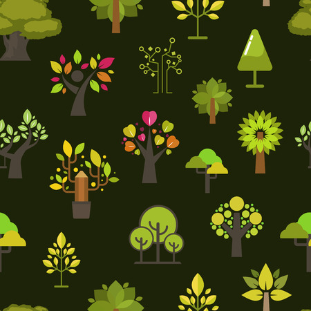 Green tree seamless pattern background green silhouette for company nature eco emblem design collection vector