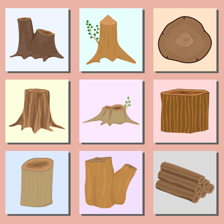 Stacked wood pine timber banner for construction building cut stump lumber tree bark materials vector set