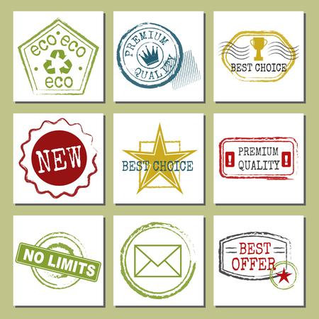 Reizen postzegels fictieve internationale luchthaven symbolen grunge paspoort of portokaart kaarten vectorillustratie Stock Illustratie
