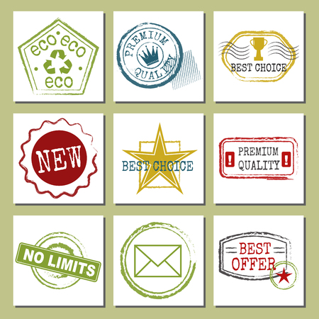 Travel stamps fictitious international airport symbols grunge passport or postage sign cards vector illustration