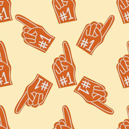 Human hand show indicate one symbol game fun toy fan baseball gesture seamless pattern background vector illustration. Иллюстрация