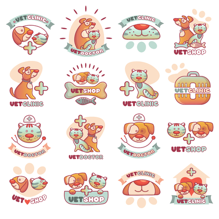 Veterinary pets clinic animal badges logotypes with dogs and cats vet clinic veterinarian shop vector illustration. Stock Vector - 88019738