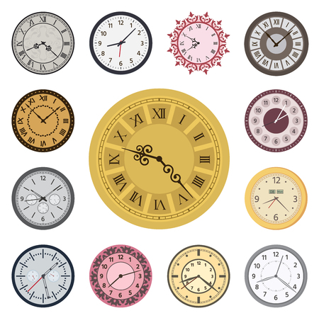 Clock faces vintage modern parts index watch clockwise arrows numbers dial-face vector illustration