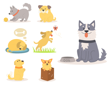 Illustration cute dogs characters.