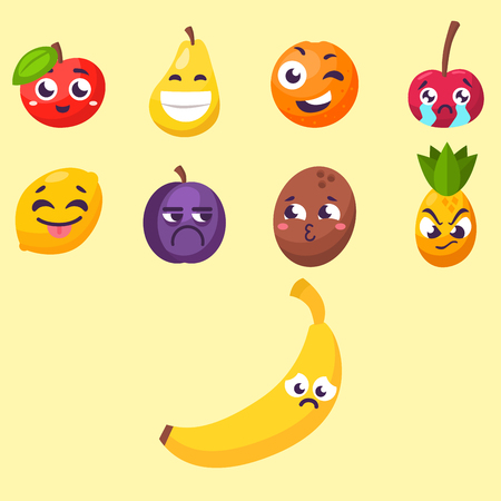 Cartoon emotions fruit characters.