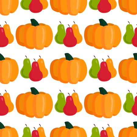 Seamless pattern with pumpkins thanksgiving autumn decoration vector illustration vegetable background. Illustration