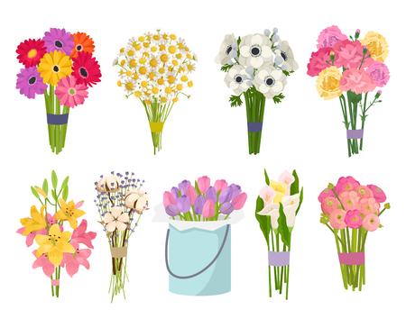 Flowers brunch bouquet set collection flat floral vector garden vector illustration.