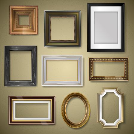 Retro vintage art photo picture frames.