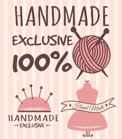 Handmade needlework badges sewing fashion banners.