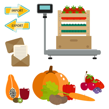 Worldwide food shipping heavy delivery ways and logistics in business and fresh fruits industry with warehouse cargo ship.