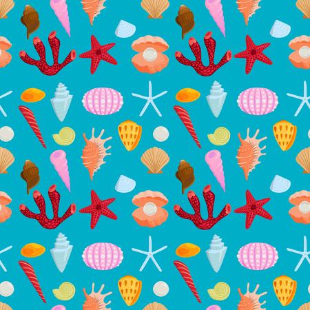 Sea shells marine cartoon clam-shell seamless pattern background ocean starfish coralline vector illustration Ilustrace
