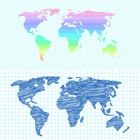 Maps globe Earth contour outline silhouette world mapping cartography texture vector illustration
