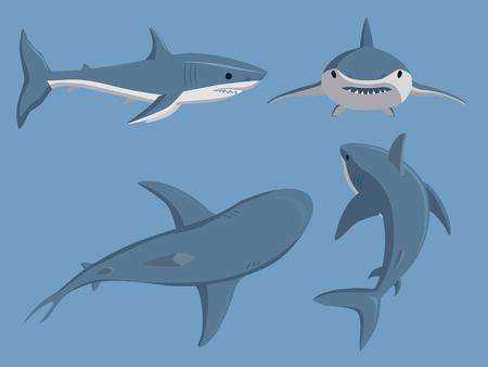 Vector illustration toothy swimming angry shark animal sea fish character underwater cute marine wildlife mascot. Ilustrace