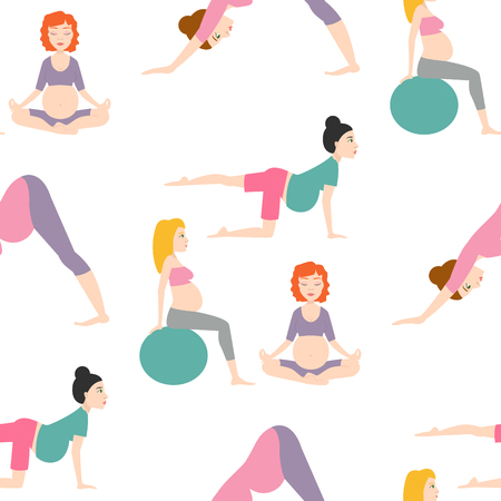 pregnancy exercise: Pregnancy sport fitness people healthy character lifestyle seamless pattern background woman yoga vector illustration.