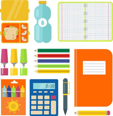 School supplies children stationary educational accessory student notebook vector illustration.
