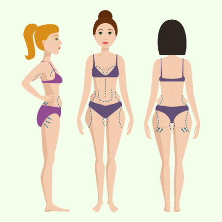 Plastic surgery body parts woman correction anaplasty medicine skin treatment beauty health procedure vector illustration