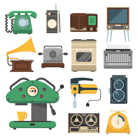 Retro vintage household appliances vector kitchenware antique technology utensil housework electric equipment illustration. Ilustrace