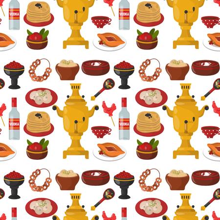 전통 러시아 요리 문화 요리 원활한 패턴 배경 과정 음식 러시아에 오신 것을 환영합니다 미식 국가 식사 벡터 일러스트 레이션 일러스트
