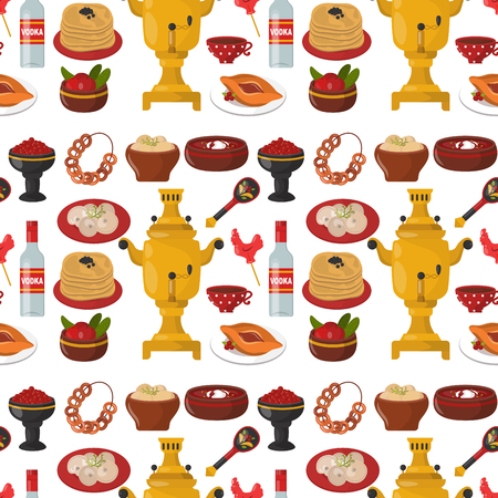 Traditional Russian cuisine culture dish seamless pattern background course food welcome to Russia gourmet national meal vector illustration Çizim