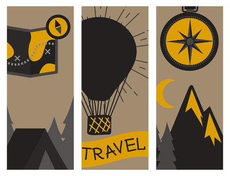 Berg openlucht vector het kamperen flayer getrokken kaarten van de reisflayer beklimmende de extreme piekillustratie van wandelingskentekens.