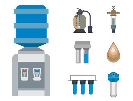 Purification de l'eau icône robinet frais recycler pompe astewater traitement collection illustration vectorielle.