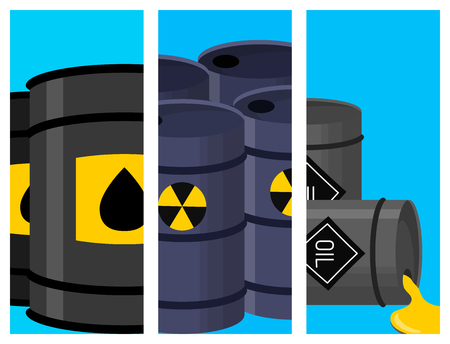 Oil drums container fuel vector illustration