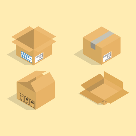 Different box vector isometric icons isolated pack