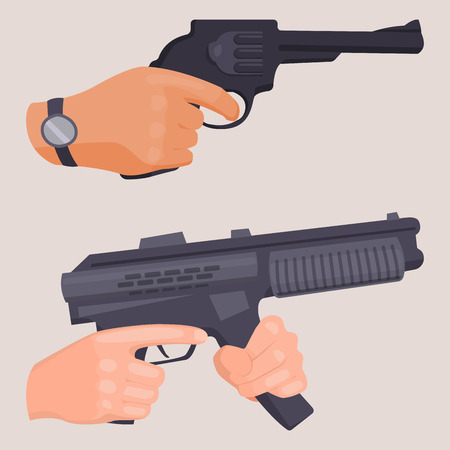 Hand firing with gun protection vector. Illustration