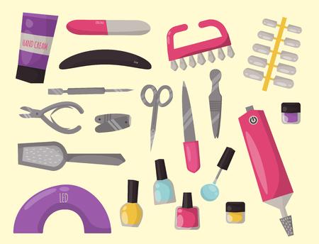 Manicure instruments vector illustration. Ilustração