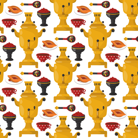 Traditional Russian cuisine culture dish seamless pattern