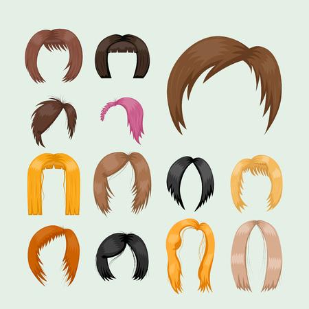 女性の髪のスタイリング ベクトル図のセット