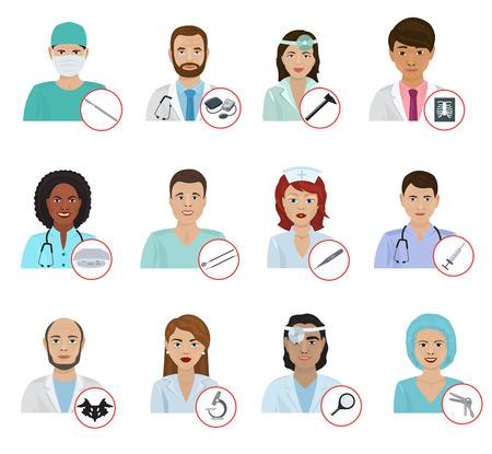 doctoral: Different doctors avatar face portraits vector illustration.