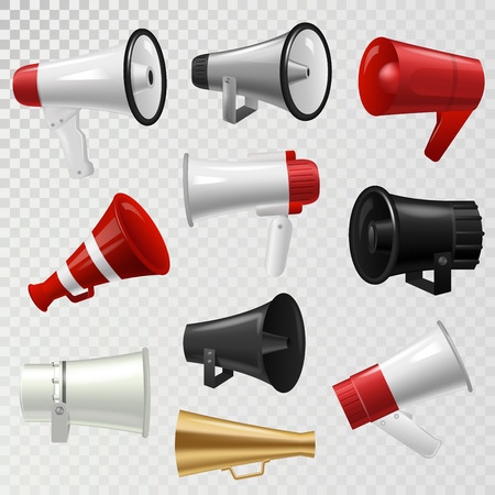 Megaphone realistic high volume speaker device vector illustration.