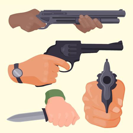 총기 탄약으로 손을 발사하십시오. 비즈니스 시작 개념 범죄 위험한 무장 클립 폭력 특수 리볼버. 범죄 군사 경찰 총기 손 벡터.