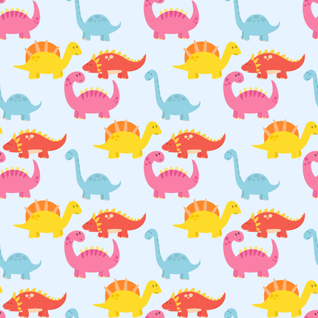 Cartoon dinosaurs vector illustration monster animal dino prehistoric character background reptile predator fantasy dragon seamless pattern